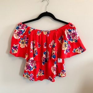 New XS Brass Plum Boho off the shoulder floral top